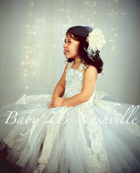 White Flower Girl Dress Satin Rosette Flower Girl Dress Wedding Flower Girl Dress  Baby to Girls 10