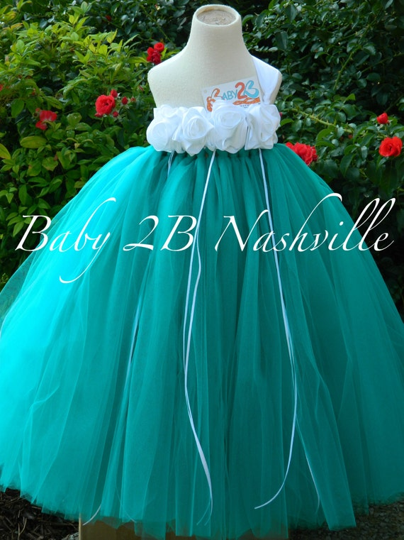Teal Flower Girl Dress  Wedding Flower Girl Dress in Teal and White  Baby - size 10 Girls