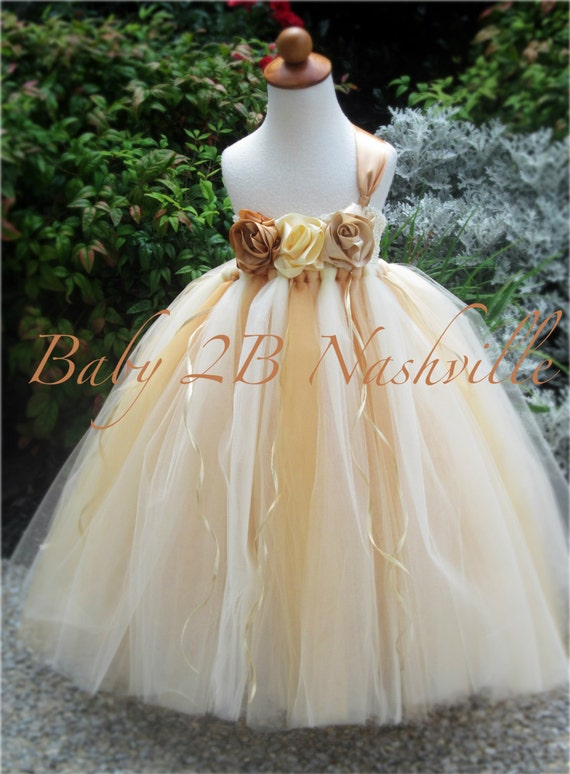 Vintage Dress Gold Dress Flower Girl Dress  Wedding Dress Tulle Dress Cream Dress Party Dress Birthday Dress Baby Dress Toddler Dress Tutu