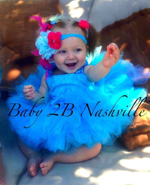 Blue Macaw Jungle Parrot Jewel Costume Tutu Set  All Sizes Baby - 8