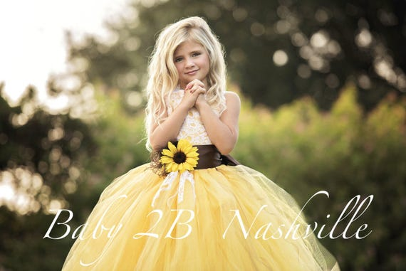 ae669d81f3946 Yellow Sunflower Dress Yellow Dress Lace Dress Tulle dress | Etsy