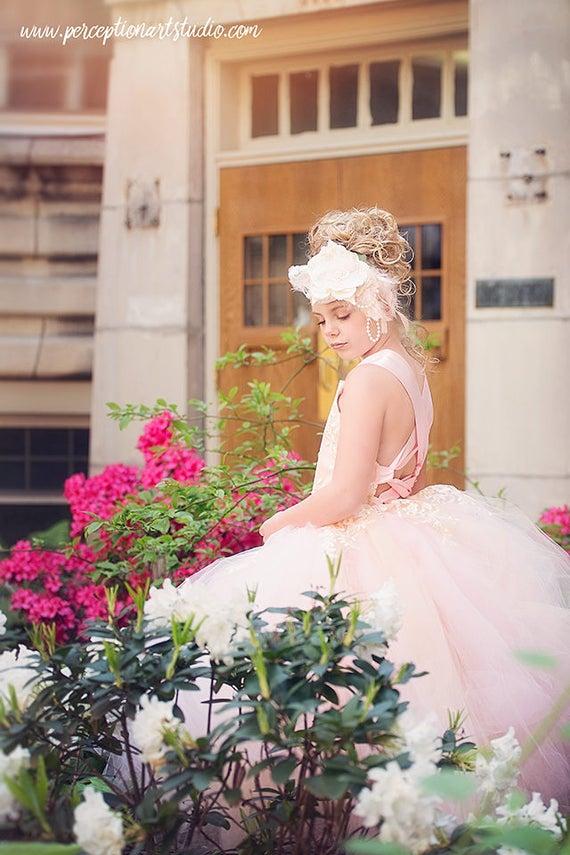 Pink Blush Dress Flower Girl Dress Princess Dress Tulle Dress Ivory Lace Dress Wedding Dress Birthday Dress Tutu Dress Girls Dress