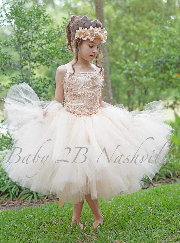 18fe6f3b5 Champagne Dress Gold Dress Flower Girl Dress Tulle Dress Wedding ...