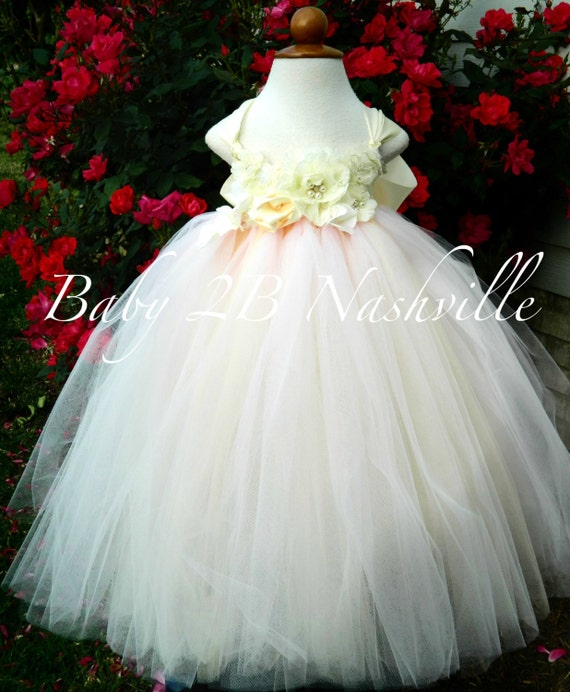 Deluxe Floral Flower Girl Dress in Blush and Ivory  All Sizes Girls