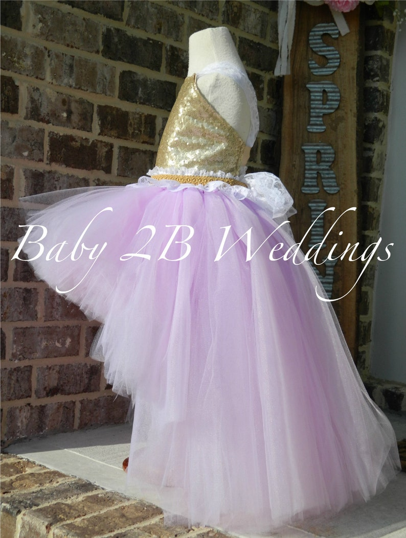 Gold Dress Sequin Dress Flower Girl Dress Lilac Dress Purple Dress Tulle Dress Birthday Dress Toddler Tutu Dress Lavender Girls Dress