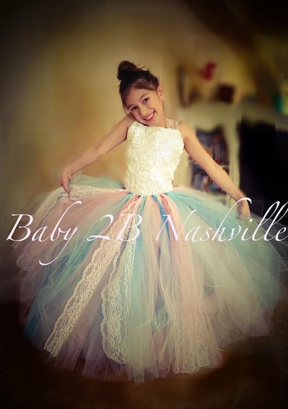 Flower Girl Dress  Wedding Dress  Pink Dress  Aqua Dress  Ivory Dress Satin Rosette Dress Baby Dress Toddler Tutu Dress Girls Tulle Dress