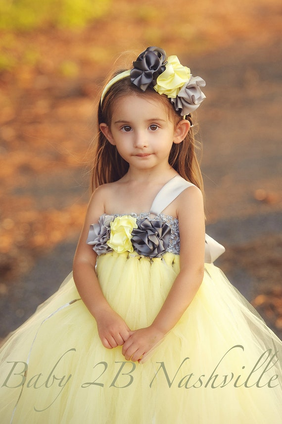 Yellow Dress Wedding Dress Flower Girl Dress Tutu Dress Tulle Dress Baby Dress Toddler Dress Grey Dress Silver Dress Birthday Party Dress