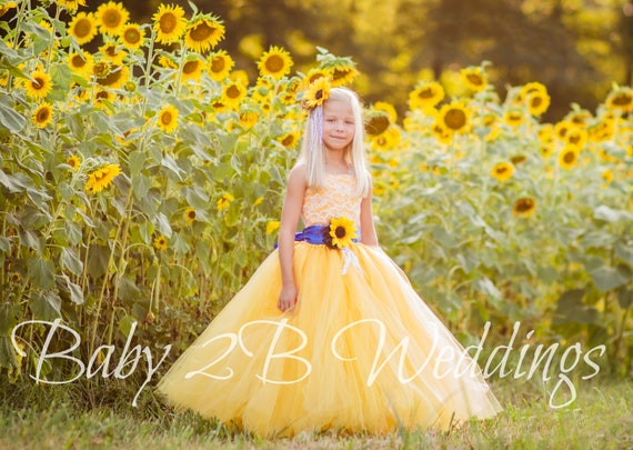 Yellow Sunflower Dress Royal Sash Blue Sash Lace Dress Tulle Dress Wedding Dress Toddler Tutu  Dress  Sunflower Girls Dress