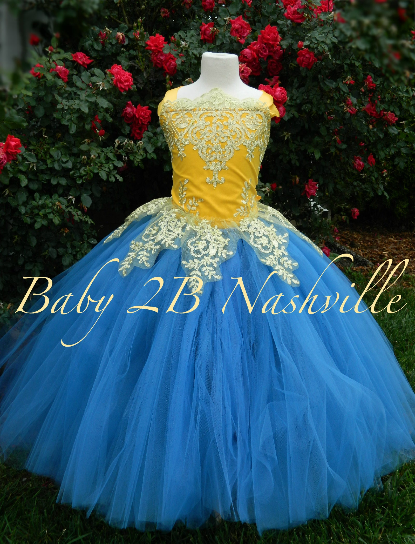 Smoke Blue Dress Gold Dress Yellow Flower Girl Dress Princess Dress