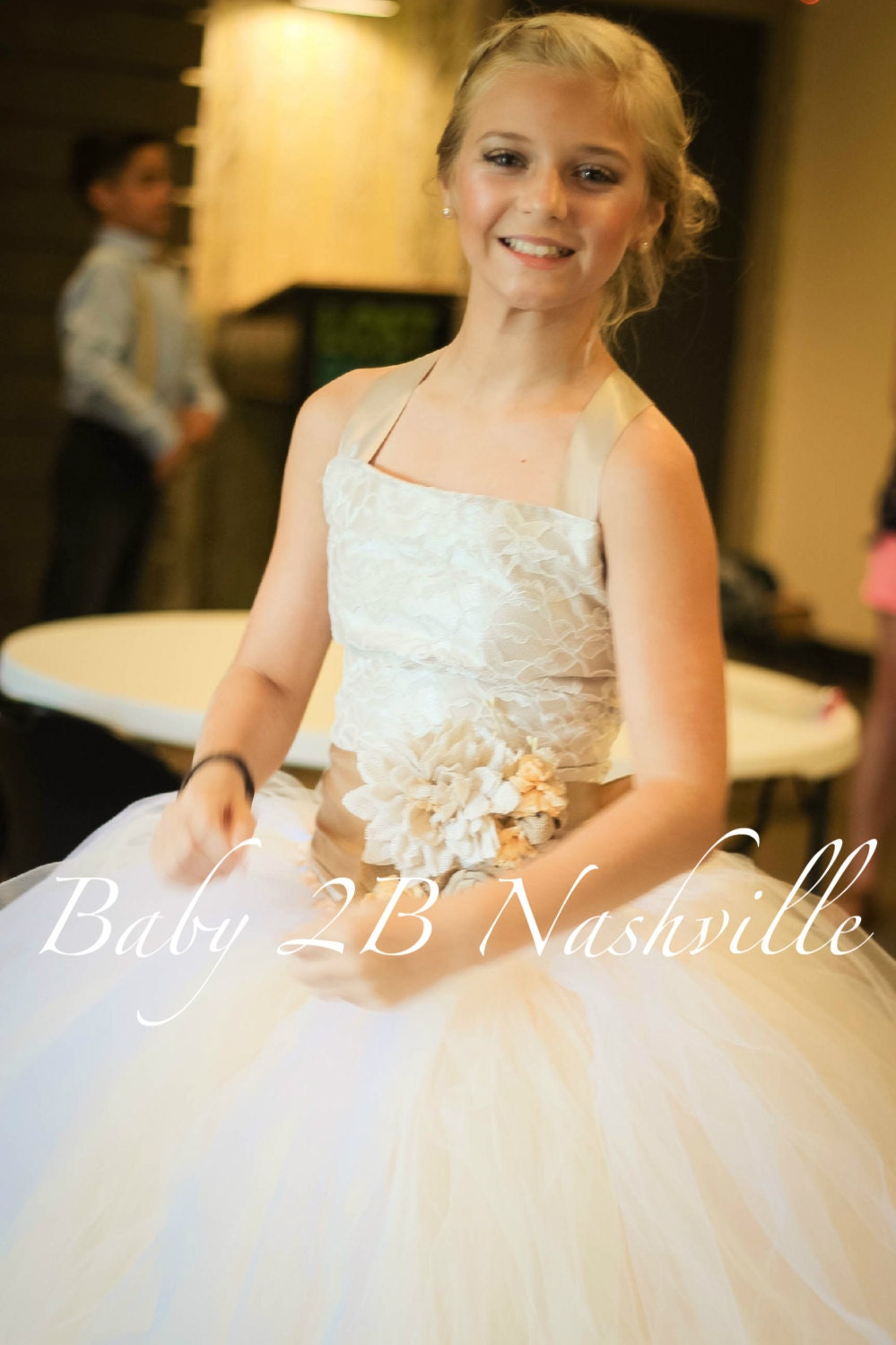 Vintage Taupe Satin And Ivory Lace And Burlap Flower Girl Dress