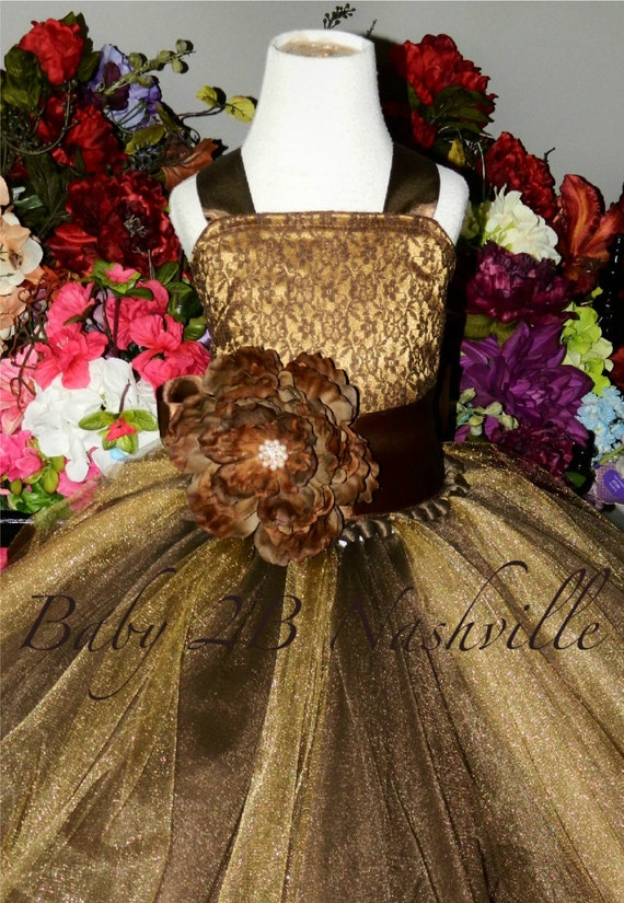Lace Flower Girl Dress with Brown Lace and Dark Gold Satin with brown Sash and Flower Rustic Wedding Flower Girl Dress  All Sizes Girls