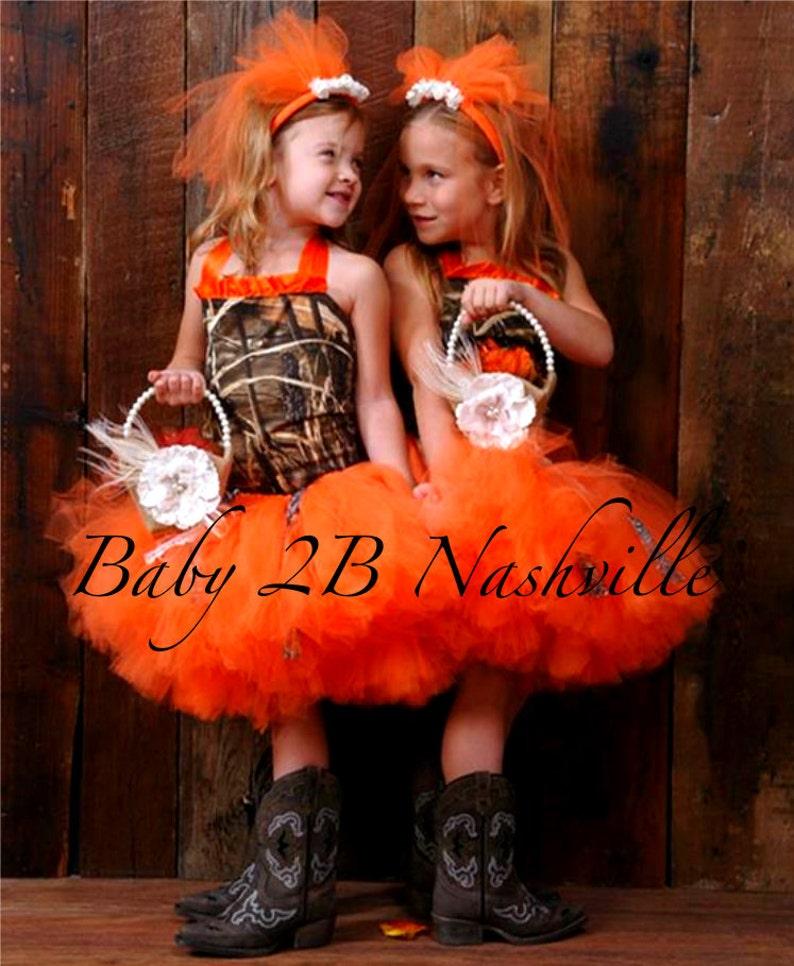 360617314bcc9 Camo Dress Orange Camo Dress Flower Girl Dress Wedding Dress | Etsy