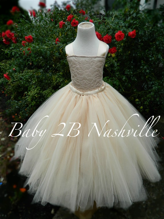 Cream Flower Girl Dress Champagne Dress Lace Dress  Wedding Dress Cream Dress Baby Dress Toddler Dress Tutu Dress Girls Tulle Dress