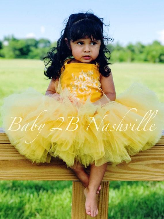 Princess Costume Dress Yellow Dress Baby Belle Style Dress Baby Costume Belle Dress Birthday Dress Toddler Costume Dress  Gold Girls Dress