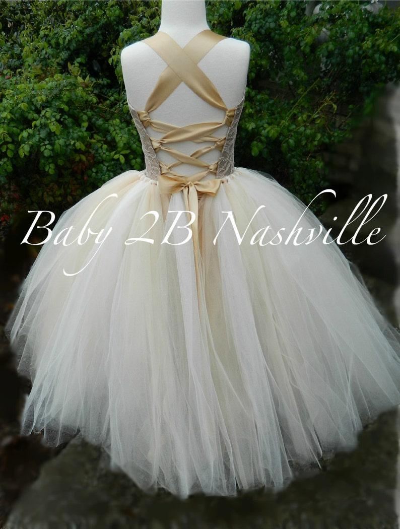 4aaf01e6b0304 Flower Girl Dress robe or foncé mariage robe robe Champagne