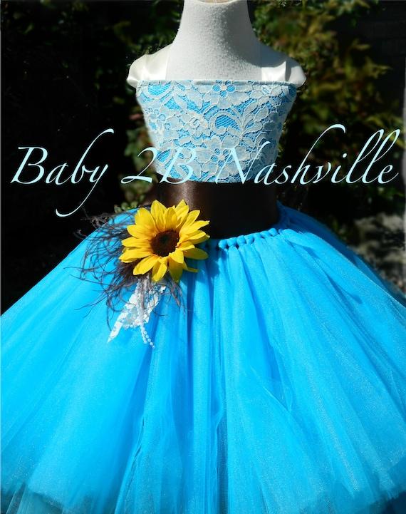Sunflower dress turquoise dress flower girl dress lace dress etsy image 0 mightylinksfo