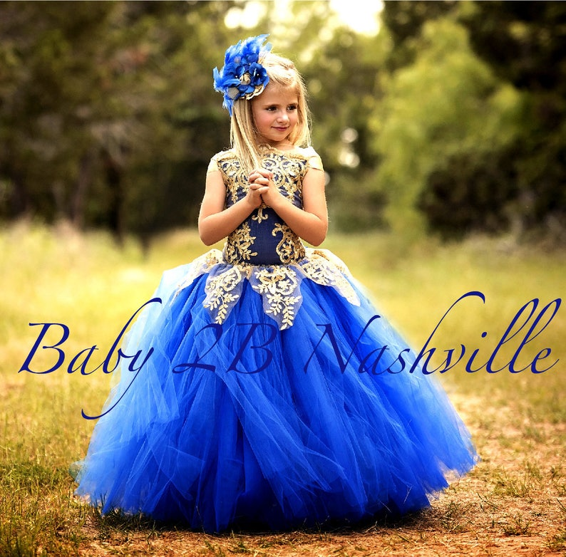 84f369f034a7b Royal Blue Dress Gold Dress Flower Girl Dress Princess Dress Tulle Dress  Lace Dress Wedding Dress Birthday Dress Tutu Dress Girls Dress