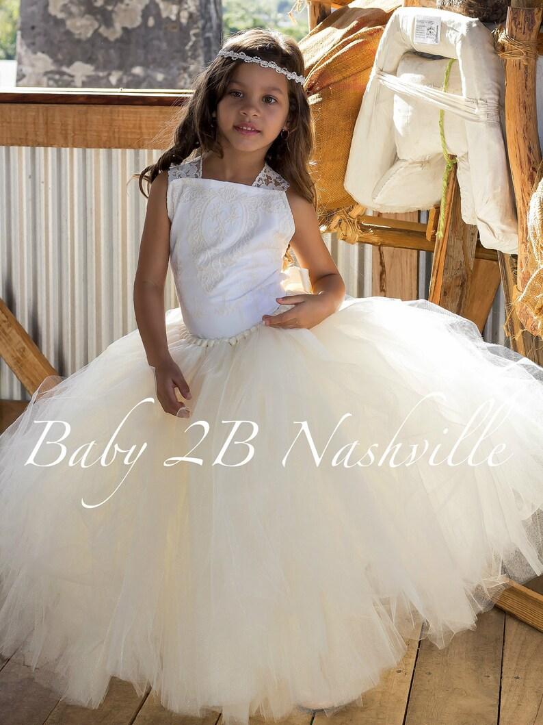 b4cb75f17785c Ivoire fleur fille robe camée dentelle robe Tulle robe Flower