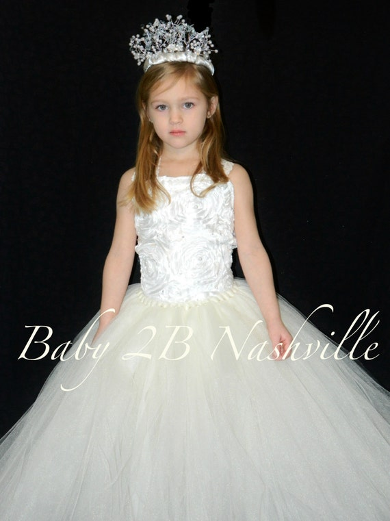 Ivory Dress Vintage Dress Flower Girl Dress Wedding Dress Communion Dress Tulle Dress Tutu Dress Baby Dress Toddler Dress Girls Party Dress