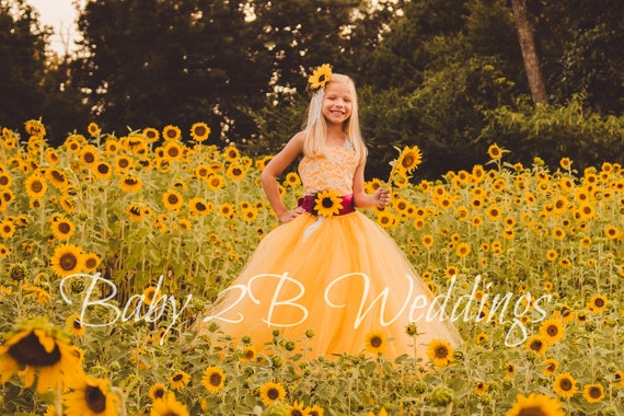 Yellow Sunflower Flower Girl Dress, Lace Flower Girl Dress, Tulle Dress, Wedding Dress, Toddler Tutu Dress