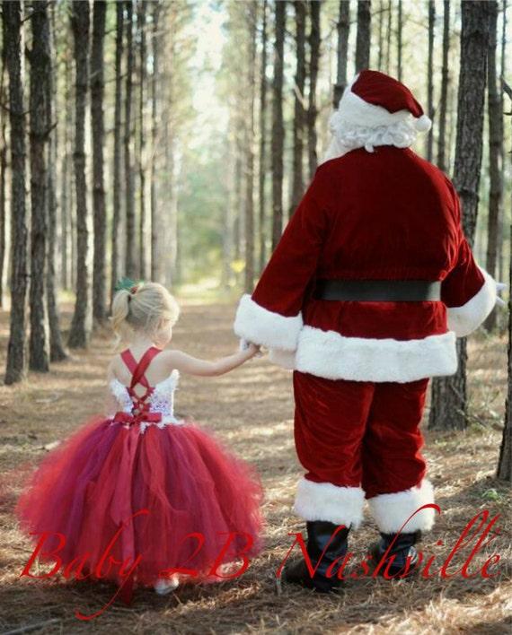 Santa Dress Lace Holiday Dress Flower Girl Dress Wedding Dress Christmas Dress Party Dress Tutu Dress Baby Dress Toddler Dress Girls Dress