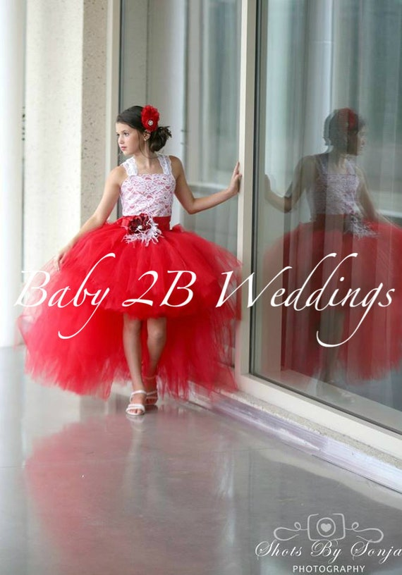 Red Hi Lo Dress Red Dress Lace Dress Tulle Hi Lo Dress Wedding Dress Birthday Dress Toddler Tutu  Dress  Rose Dress Girls Dress
