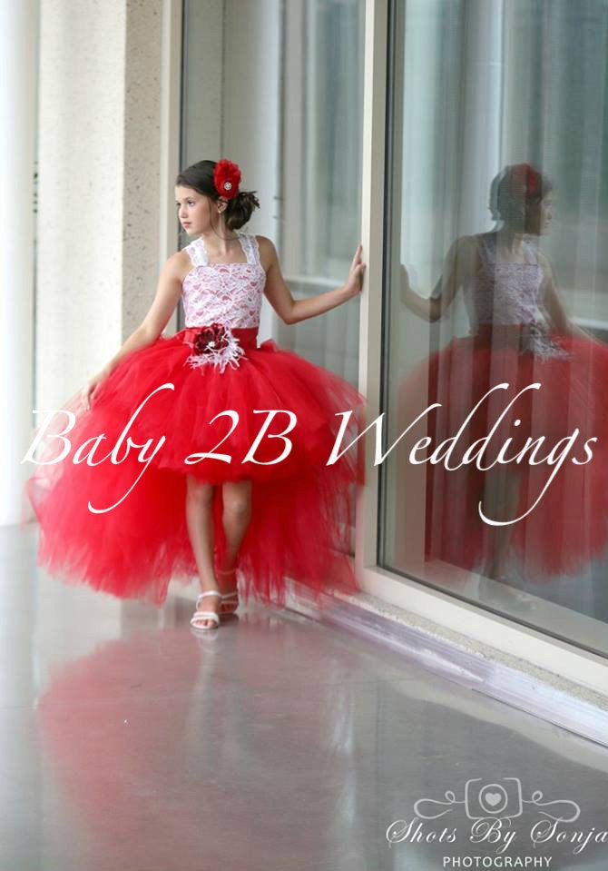 Tootoo Red Lace Top Wedding Dresses