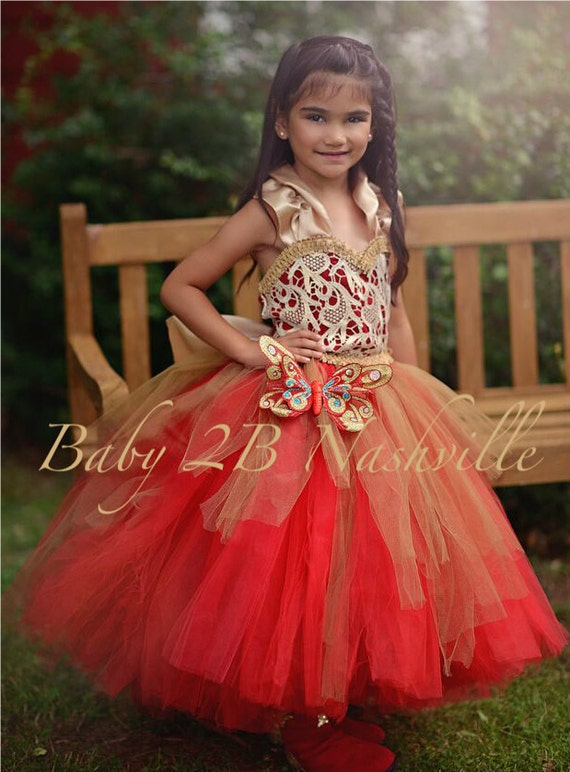 Christmas Flower Girl Dress in Red and Gold Wedding Flower | Etsy