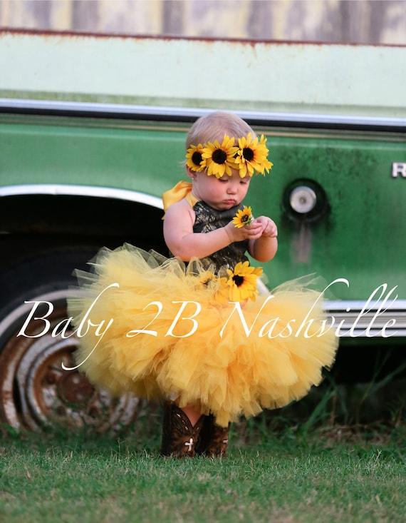 Camo Dress Yellow Sunflower Dress Flower Girl Dress Wedding Dress Mossy Oak Tutu Dress Baby Dress Toddler Dress Tulle Dress Girls Dress