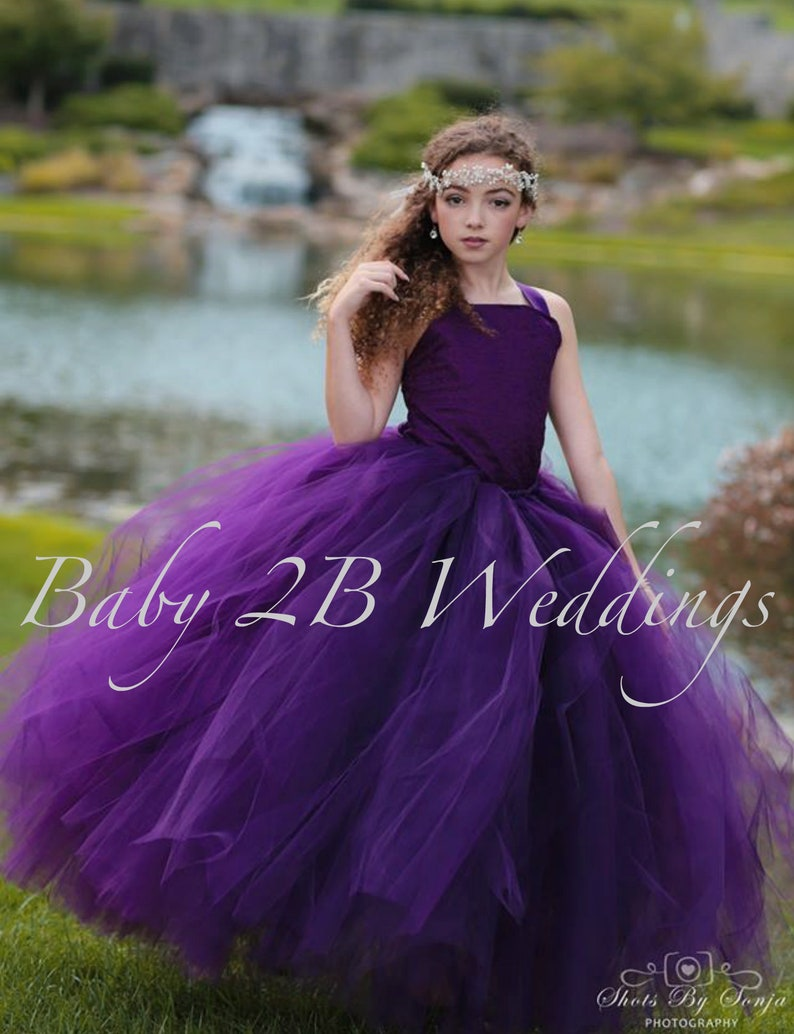 48c0f4e6eca Plum Flower Girl Dress Wedding Flower Girl Dress Plum Tutu