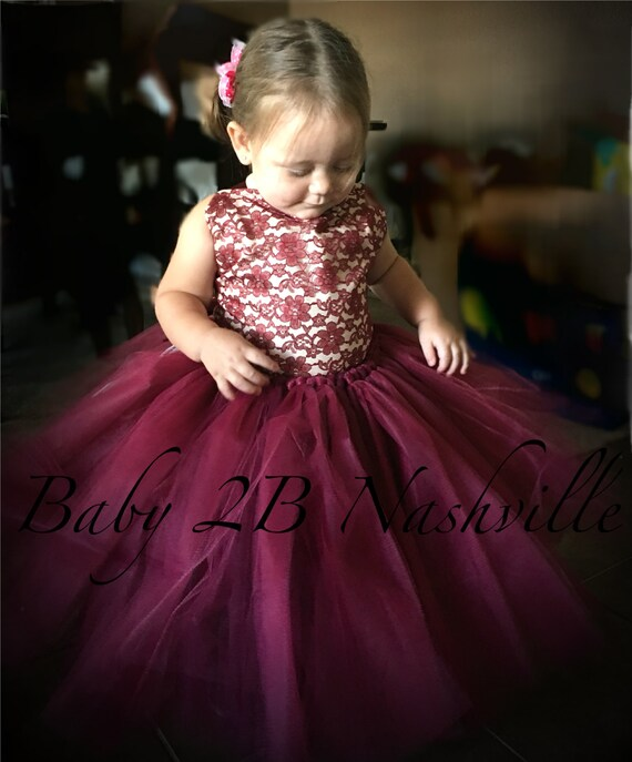 Wine Lace Flower Girl Dress, Wedding Flower Girl  Dress, Wine Tutu Dress, Vintage Dress, Toddler Dress, Girls Dress, Burgundy Dress