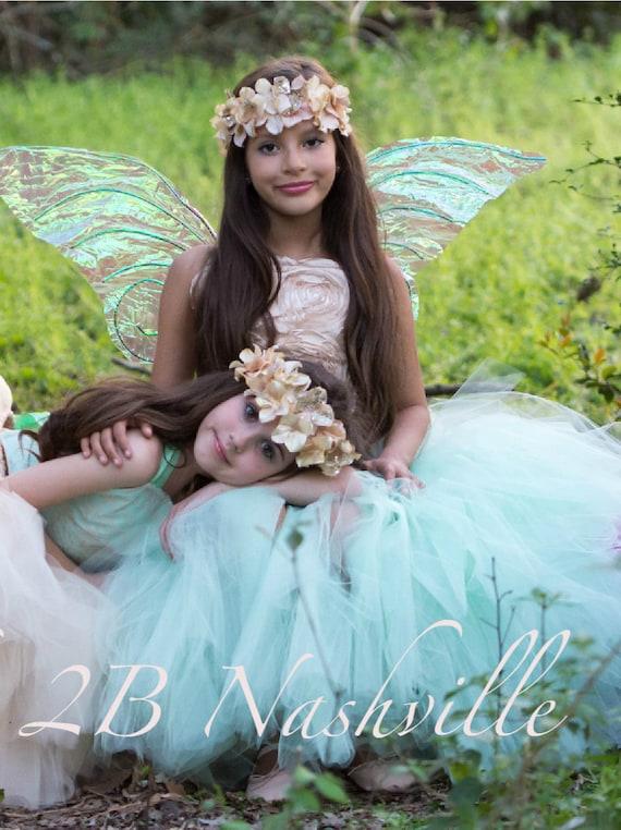 Wedding Dress Flower Girl Dress Mint Dress Gold Dress Tulle Dress Baby Dress Toddler Dress Mint Tulle Dress Gold Satin Dress Girls Dress