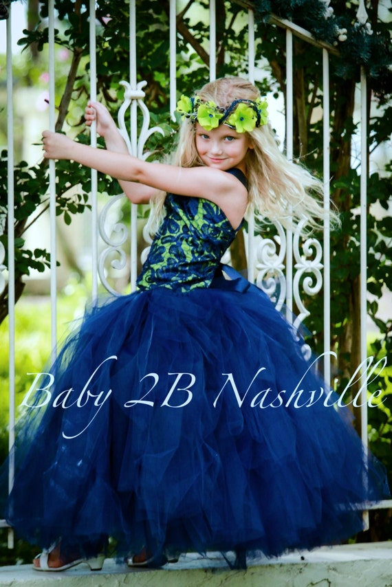 Flower Girl Dress Navy Dress Lace Dress Apple Green Dress Wedding Dress Flower Girl Dress Party Dress Birthday Dress Baby Dress