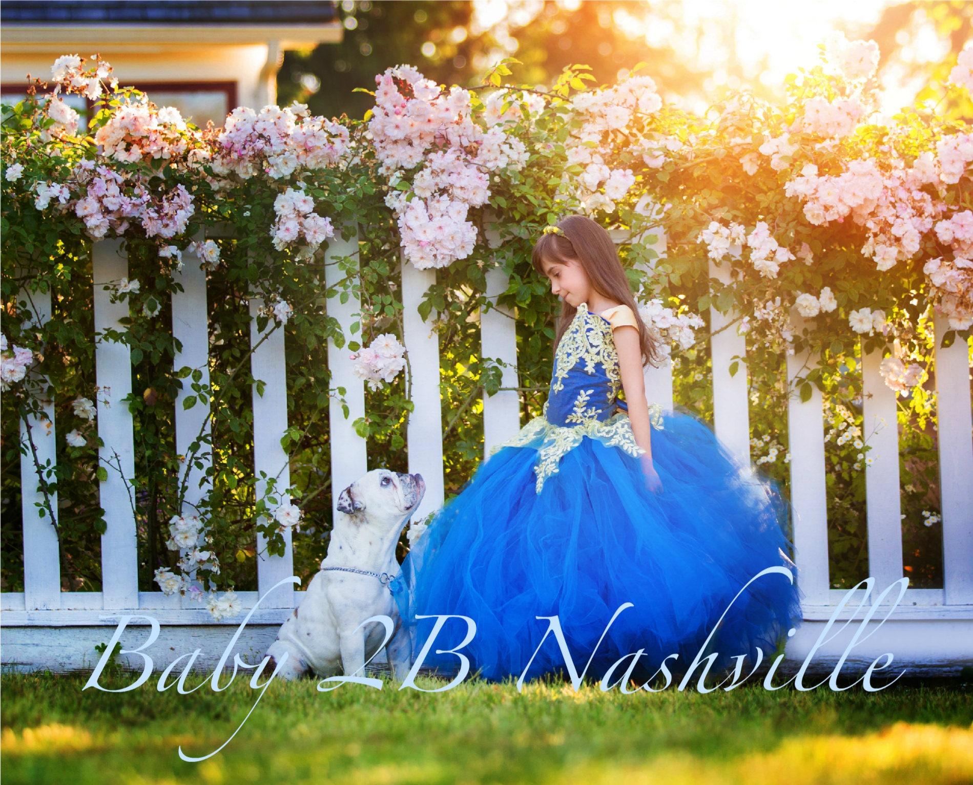 c0e56228993 Smoke Blue Dress Gold Dress Flower Girl Dress Princess Dress Tulle ...