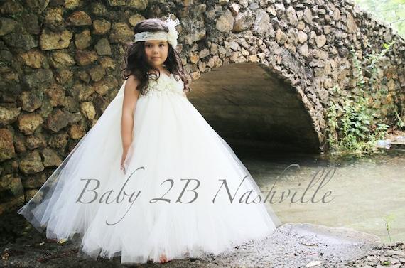 Floral Dress Wedding Dress Ivory Dress Flower Girl Dress  Tulle Dress Party Dress Birthday Dress Baby Dress Toddler Tutu Dress Shabby Dress