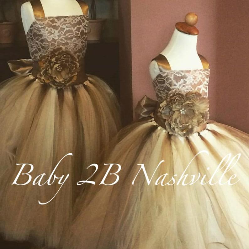 bd92c97636d Flower Girl Dress Wedding Dress Cocoa Lace Dress Champagne