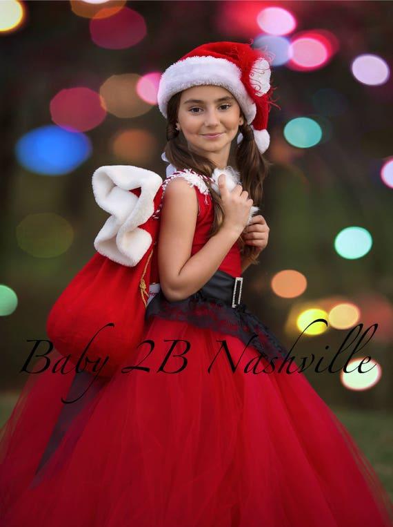 Red Santa Dress Red Christmas Dress Flower Girl Dress Red Dress Tulle Dress Wedding Dress Red Birthday Dress Red Toddler Dress Red Dress