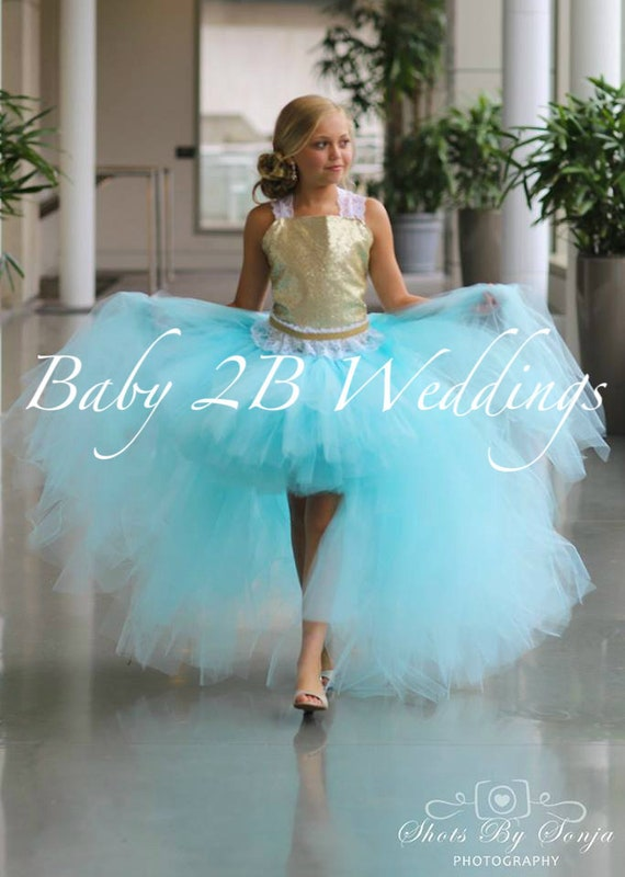 Hi Lo Gold Dress Sequin Dress Flower Girl Dress Aqua Dress Blue Dress Tulle Dress Birthday Dress Toddler Tutu Dress Aqua hi lo Girls Dress