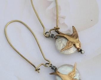 Pearl Sparrow Earrings Pearl And Bird Earrings Boho Earrings Bohemian Jewelry