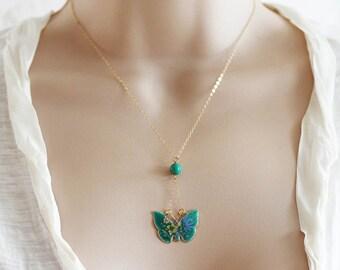 Cloisonne Necklace Vintage Butterfly Necklace Cloisonne Butterfly Necklace