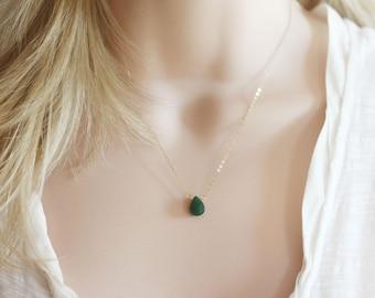 Genuine Jade Necklace GORGEOUS Jade On 14 Karat Gold Filled Or Sterling Silver March Birthstone