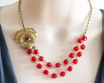 Red Flower Necklace FREE Matching Earrings Necklace Red Necklace Vintage Jewelry Red Wedding Necklace Jewelry OOAK