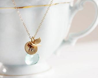March Birthstone Necklace Aquamarine Personalized Tiny Bird Charm Birthstone Pendant