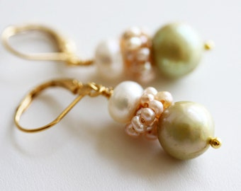 Sage Pearl Earrings  Sage Green Earrings Bridal Earrings Bridal Jewelry Freshwater Pearl Earrings