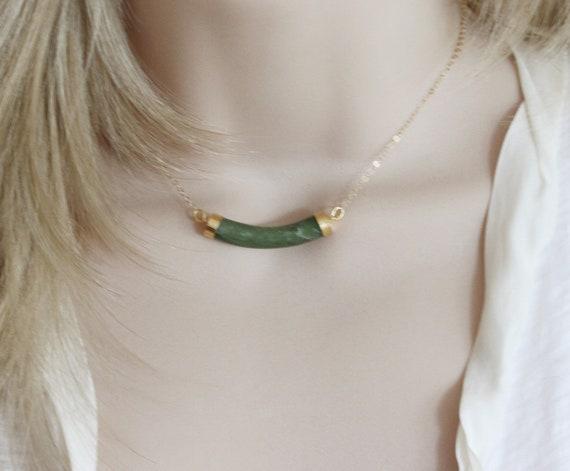Genuine Jade Bar Necklace GORGEOUS Jade Pendant 14 Karat Gold Filled Jade Tube NecklaceMarch Birthstone Gift for Her