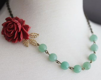 Red Rose Necklace Amazonite Beaded Necklace Jewelry For Mom Wedding Necklace Vintage Jewelry Statement Necklace