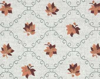 1950s Vintage Wallpaper by the Yard - Botanical Wallpaper with Brown Leaves on Gray