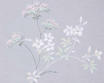 1950s Vintage Wallpaper by the Yard - Floral Wallpaper with Pink Flowers Green and White Leaves on Gray with Gold Accents