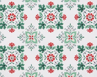 1950s Vintage Wallpaper by the Yard - Geometric Vintage Wallpaper Green and Red on White
