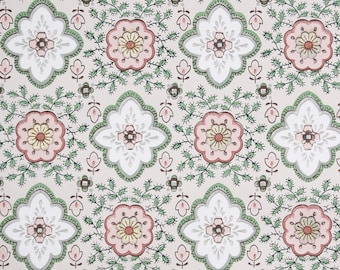 1950s Vintage Wallpaper by the Yard - Geometric Vintage Wallpaper Green and Mauve Design